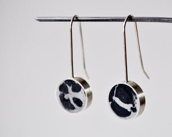 Concrete  &  Silver Drop Earrings