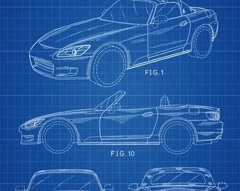 Honda S2000 Design Patent 1999 - Patent Print, Wall Decor, Automobile Decor, Automobile Art, Classic Car, Honda Car Patent