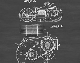 Indian Motorcycle Patent 1943 - Patent Print, Wall Decor, Motorcycle Decor, Motorcycle Parts, Motorcycle Art, Vintage Motorcycle