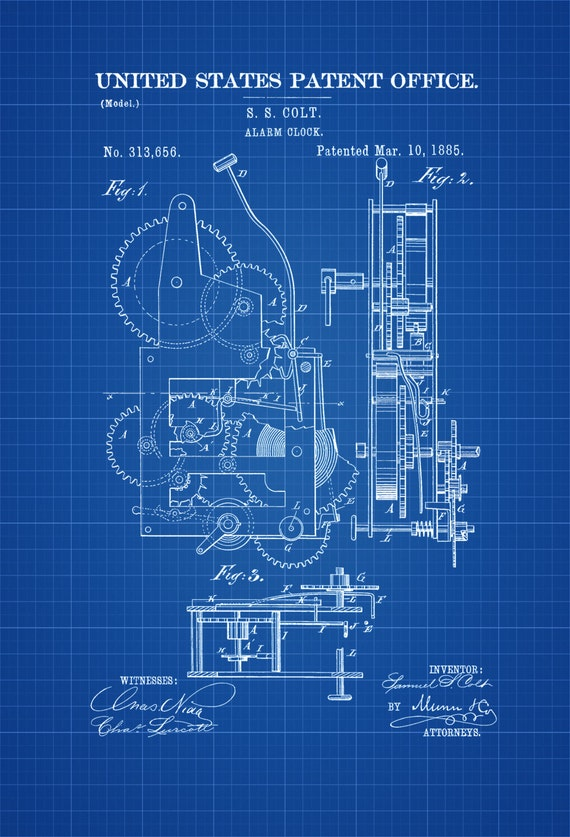Alarm Clock Patent 1885 Patent Print Vintage Clock Vintage