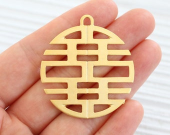Large gold round pendant, gold large medallion, gold tribal pendant, boho pendant, metal pendants, geometric pendant, gold filigree pendant