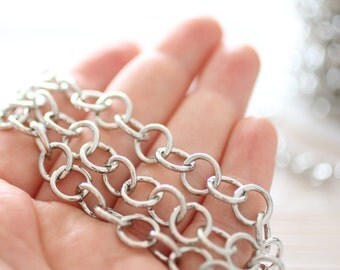 10mm silver brass chain, large link chain, brass round cable chain, antique silver, silver chain, brass chain, necklace chain, jewelry chain