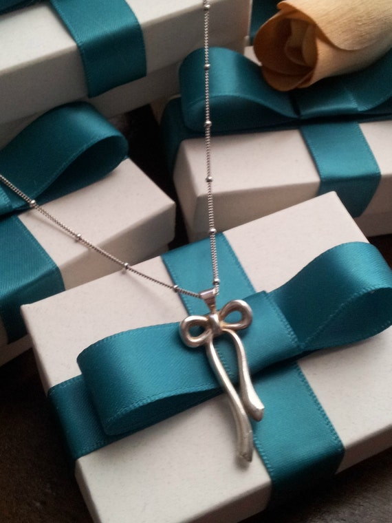 Bow Necklace Silver Bow Jewelry Bridesmaid Gift Silver Necklace Bridesmaid Necklace Bow Pendant Ribbon Necklace Gift For Her Bow Charm