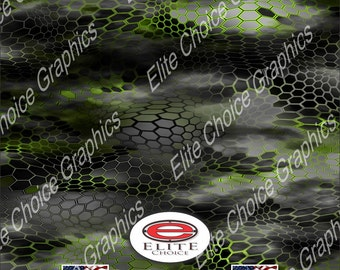 "Chameleon Hex 2 Green 12""x52"", 15""x52"" or 24""x52"" Truck/Pattern Print Tree Real Camouflage Sticker Roll or Sheet"