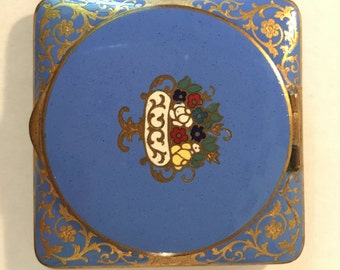 1920s Square Gold-Gild & Blue Enameled Compact