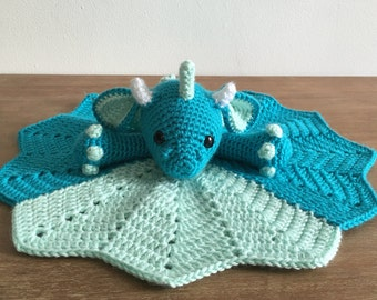 Crochet Dragon Lovey, Blue and Green