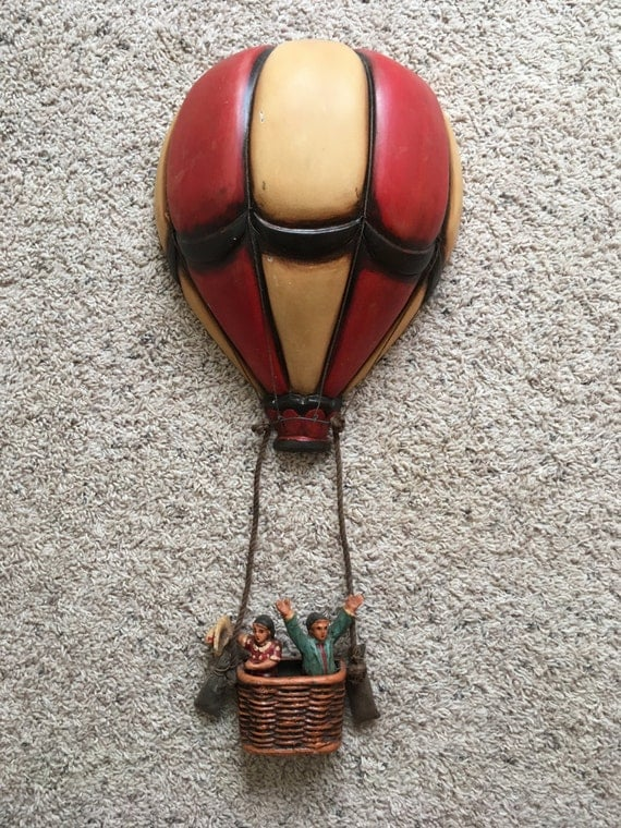 Vintage Hanging Hot Air Balloon With Basket Fine Crafted