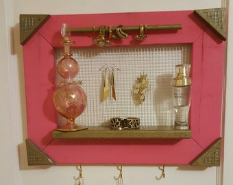 Pink Re-Purposed Wood Jewelry Holder/Organizer (FREE SHIPPING)