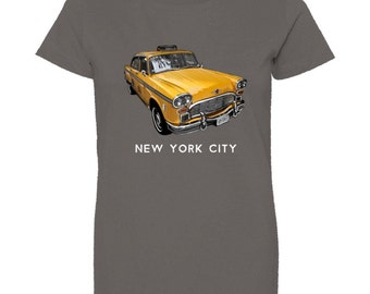 New York Classic Checker Taxi Cab (White Lettering)  - Women's T-shirt (Crew or V-Neck)  -  Sizes S, M, L, XL, XXL - 4 colors