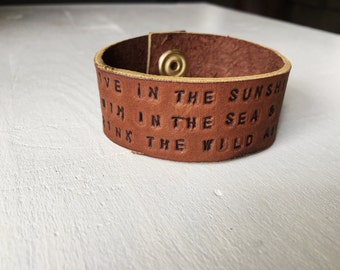 Leather Quote Cuff Bracelet // Brown