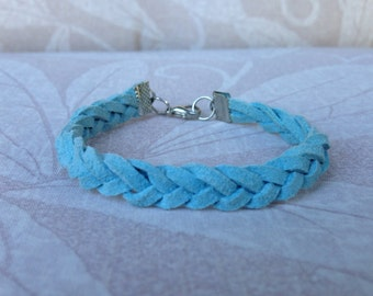 Light Blue Suede Braided Bracelet