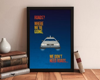 Back to the Future - minimalist movie poster - movie quotes - movie poster - movie art - movie prints - DeLorean - 80s - gifts for him