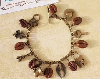 Bracelet with coffee beans and charms
