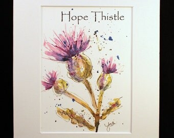Hope Thistle Watercolor Painting Print, Thistle Watercolor Painting, Purple Hope Thistle Wall Hanging-- 5 X 7 matted to 8 x 10,