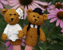 Finger puppets wedding bears set crochet puppets toys crochet finger theater amigurumi Waldorf toy home accessory gift for kids wedding gift