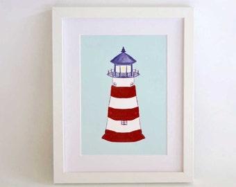 Childrens wall art - Lighthouse, kids art print, nursery art print, art for boys,