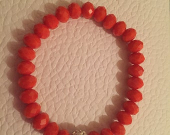 Orange Glass and Swarovski Friendship Bead Bracelet