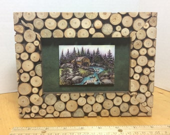 Rustic Old Mill Picture Hand Stamped