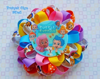 Bubble Guppies Hair Bow Bubble Guppies Bow Loopy Hair Bow Bubble Guppies Birthday Bubble Guppies Party Favors Molly and Gil Hair Bow
