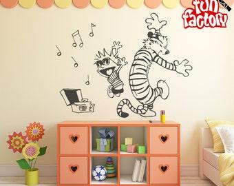 Calvin U0026 Hobbes Dancing Wall Decal Kids Boy Girl Nursery Room Sticker  Design, Wall Mural Part 82