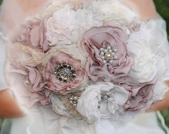 Pearl bridal shabby N chic 11.8 Rose Shabby Shic, bridesmaid brooch bouquet, brooch Bouquet