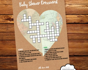 Personalized Baby Shower Crossword Puzzle // World Travel Theme // Printable