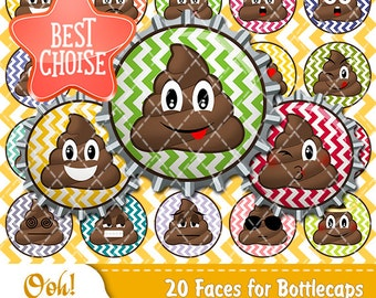 20 Poop Emoji Bottlecap 1 inch round digital ClipArt Poo Emoji Digital Magnets Bottle Cap Poop Designs Emoji Party Supplies Cute Poop Set
