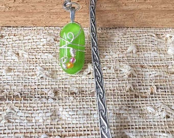 Lime Green Fused Glass Beaded Bookmark