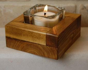 Square wood tea light