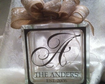 "Personalized ""Established"" - lighted glass block"
