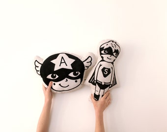 SET OF TWO Superhero Pillows Hand Printed Organic Cushion Kids Nursery Home Decor Monochrome