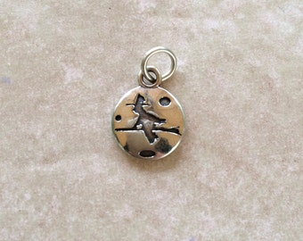 Witch Flying Acoss The Moon Mini Charm ~ Sterling Silver Jewelry .925 Stamped