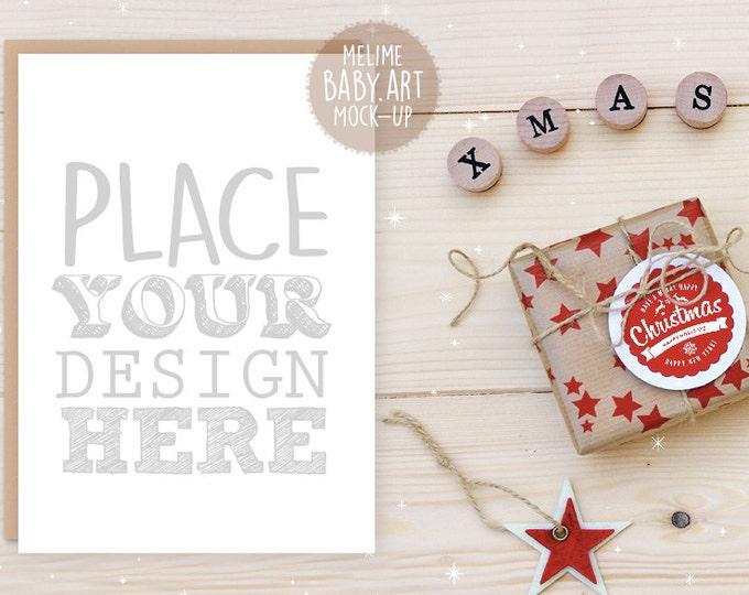 Christmas Card Mockup, 5x7 invitation Mockup, Flatlay Christmas Mockup, Styled Photography Mockup, Christmas Mockup (6.Christmas)