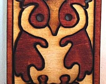 Miniature Wooden Owl Jigsaw Puzzle