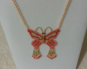 beautiful beaded butterfly peach, cream and gold seed beads