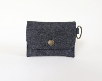 Charcoal Gray Wool Felt Coin Purse | Felt Cardholder