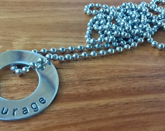 Hand Stamped Washer Necklace with Stainless Steel Chain - Courage