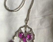 Vintage SARAH COVENTRY Waterfall Necklace w/ Purple Lucite Beads