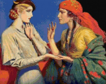Vintage 1930s Fortune Teller Cross stitch pattern - PDF - Instant Download!