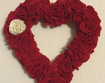 Heart Shaped Felt Wreath With White Rose