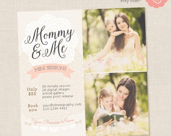 Mommy and Me Mini Session Template, Mothers Day Mini Sessions, Marketing Board, Photoshop Template, Photography Marketing Set, Family Mini