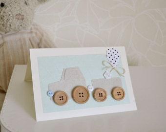 Birthday Card for a Boy, Little Grey Train, Cute Greeting Cards, Greeting Card