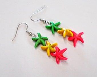 Colorful Starfish Earrings, Starfish Earrings, Colorful Earrings, Playful Earrings, Three Starfish, Starfish Jewelry