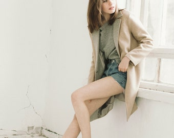 Camel and grey spring coat woman wool coat