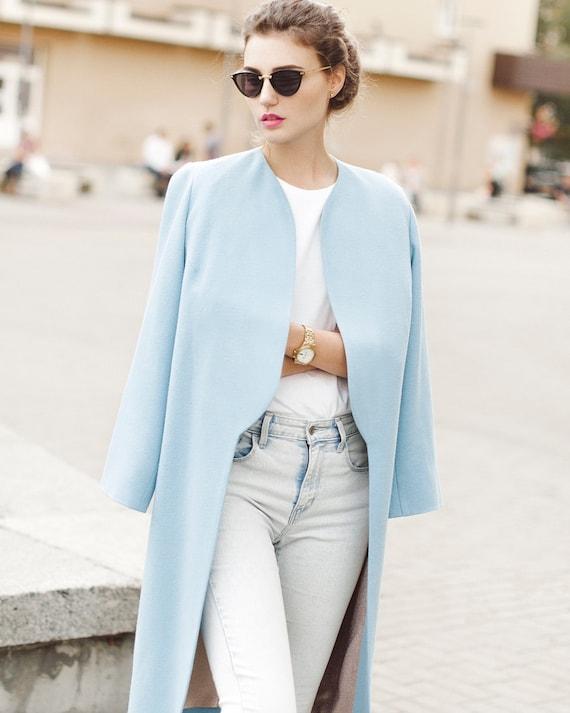 Blue Spring Coat Woman Wool Coat