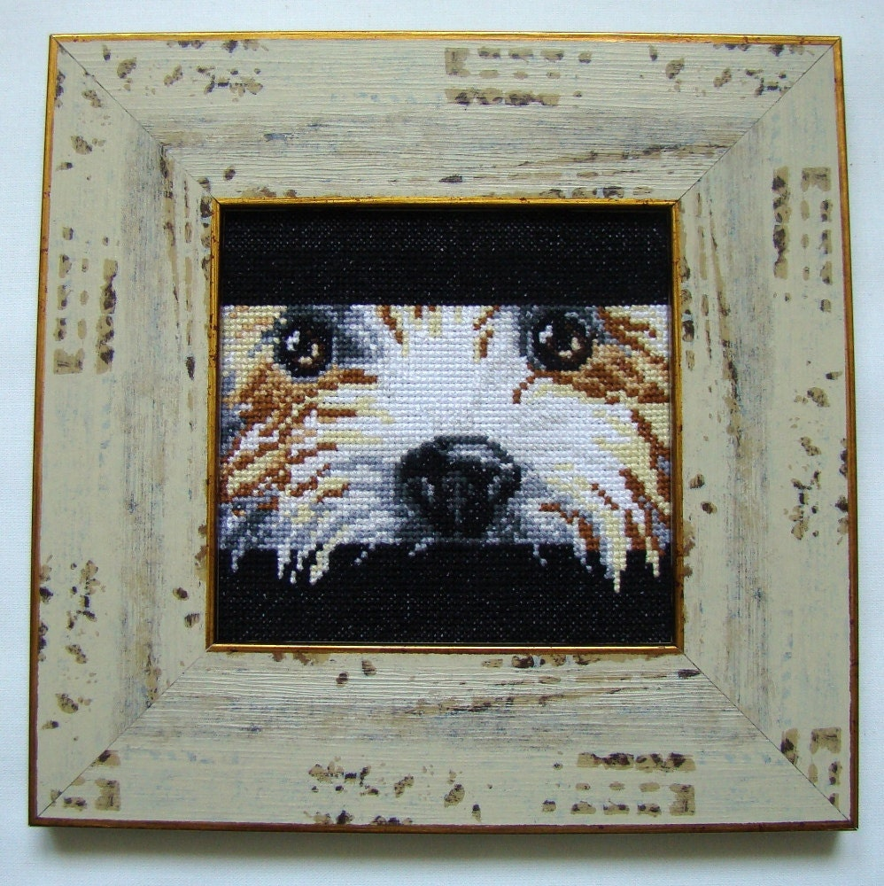 Wall Decor Cross Stitch : Cross stitch dog picture wall d?cor nursery gift for