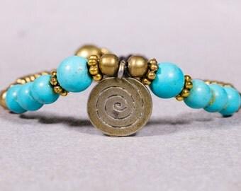 Turquoise beads bracelet, Gold coin charm bracelet, Beaded Bracelet- B-20