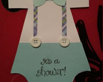 Set of 10 adorable handmade boy onsie baby shower invitations or announcements.