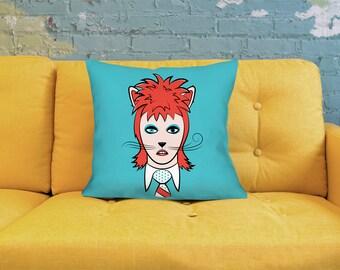 Cat Pillow - David Bowie Pillow - Bowie Pillow - Cartoon Pillow - Cat Throw Pillow - Cute Throw Pillow - Quirky Pillow - Blue Pillow - Cat