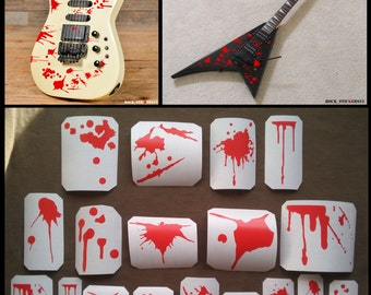 Guitar stickers blood red bloody streaks drops decal blots metal style Graphics set 18